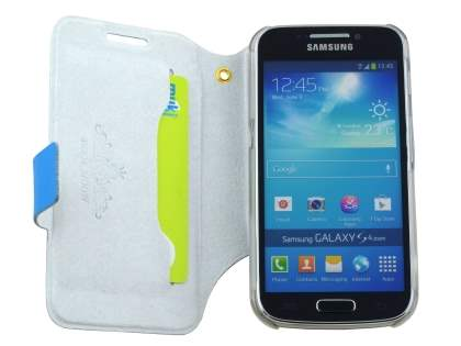 Slim Genuine Leather Case for Samsung Galaxy S4 zoom - Blue