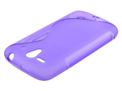 Wave Case for Huawei Ascend G300 - Frosted Purple/Purple Soft Cover