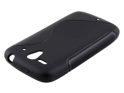 Wave Case for Huawei Ascend G300 - Frosted Black/Black Soft Cover