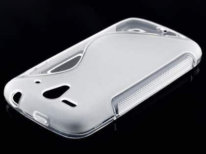 Wave Case for Huawei Ascend G300 - Frosted Clear/Clear Soft Cover