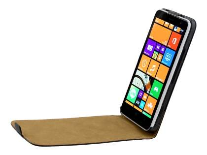 Slim Genuine Leather Flip Case for Nokia Lumia 1320 - Classic Black