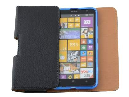 Nokia Lumia 1320 Synthetic Leather Belt Pouch (Bumper Case Compatible) - Classic Black