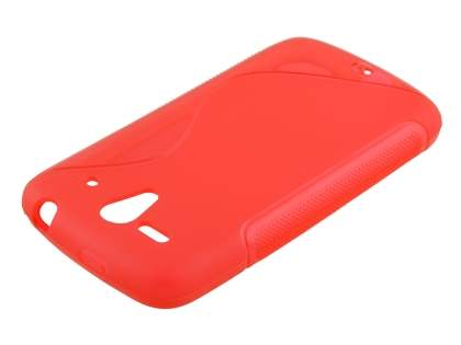 Wave Case for Huawei Ascend G300 - Frosted Red/Red Soft Cover