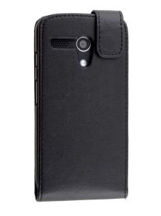 Synthetic Leather Flip Case for Motorola Moto G - Classic Black Leather Flip Case