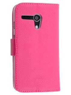 Synthetic Leather Wallet Case with Stand for Motorola Moto G - Pink Leather Wallet Case