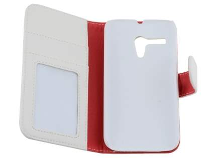 Synthetic Leather Wallet Case with Stand for Motorola Moto G - Pearl White