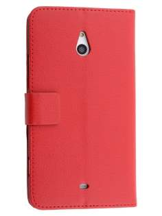 Synthetic Leather Wallet Case with Stand for Nokia Lumia 1320 - Red Leather Wallet Case