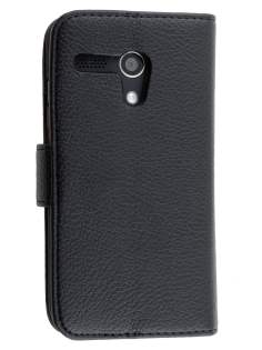 Synthetic Leather Wallet Case with Stand for Motorola Moto G - Classic Black Leather Wallet Case