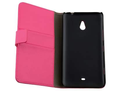 Nokia Lumia 1320 Slim Synthetic Leather Wallet Case with Stand - Pink