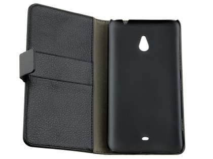 Synthetic Leather Wallet Case with Stand for Nokia Lumia 1320 - Classic Black