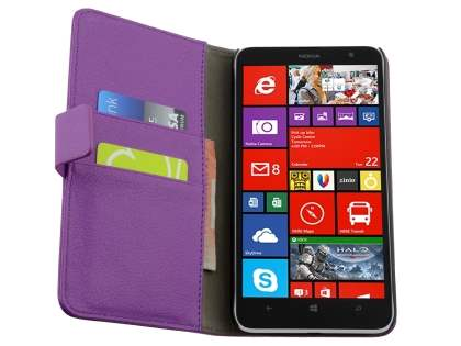 Nokia Lumia 1320 Slim Synthetic Leather Wallet Case with Stand - Purple