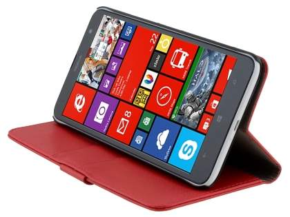 Nokia Lumia 1320 Slim Synthetic Leather Wallet Case with Stand - Red