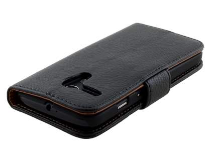 Motorola Moto G Slim Synthetic Leather Wallet Case with Stand - Classic Black