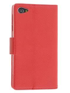 Synthetic Leather Wallet Case with Stand for Sony Xperia Z1 Compact - Red Leather Wallet Case