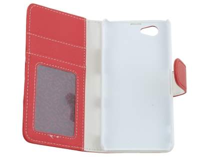 Sony Xperia Z1 Compact Slim Synthetic Leather Wallet Case with Stand - Red
