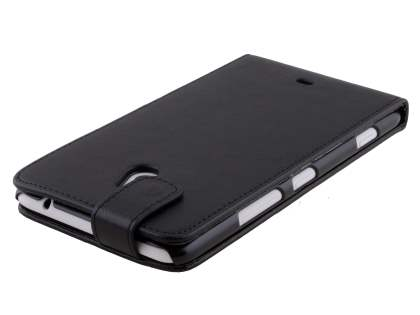 Synthetic Leather Flip Case for Nokia Lumia 1320 - Classic Black