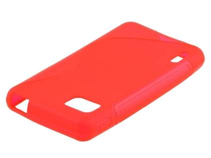 Wave Case for LG Optimus F3 - Frosted Red/Red