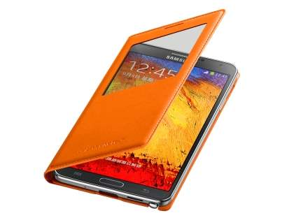 Genuine Samsung Galaxy Note 3 S-View Premium Cover Case - Wild Orange