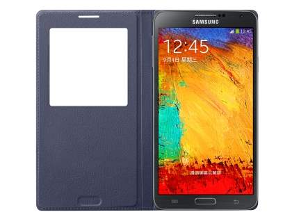 Genuine Samsung Galaxy Note 3 S-View Premium Cover Case - Indigo Blue