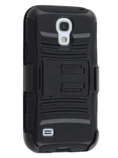 Rugged Case with Holster Belt Clip for Samsung I9195T Galaxy S4 mini - Classic Black Impact Case