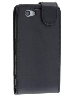 Synthetic Leather Flip Case for Sony Xperia Z1 Compact - Classic Black Leather Flip Case