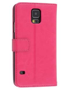 Synthetic Leather Wallet Case with Stand for Samsung Galaxy S5 - Pink