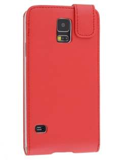 Samsung Galaxy S5 Synthetic Leather Flip Case - Red
