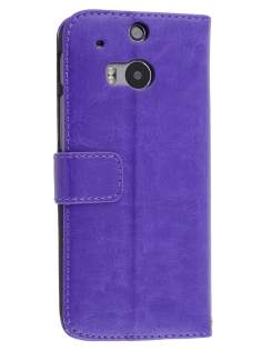 HTC One M8 Slim Synthetic Leather Wallet Case with Stand - Purple