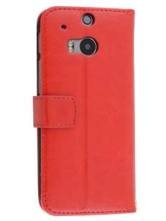 HTC One M8 Slim Synthetic Leather Wallet Case with Stand - Red Leather Wallet Case
