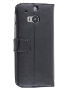HTC One M8 Slim Synthetic Leather Wallet Case with Stand - Classic Black