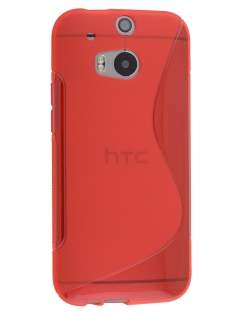 Wave Case for HTC One M8 - Frosted Red/Red Soft Cover