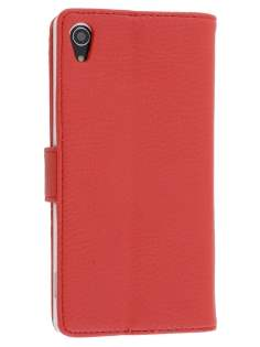 Sony Xperia Z2 Slim Synthetic Leather Wallet Case with Stand - Red Leather Wallet Case