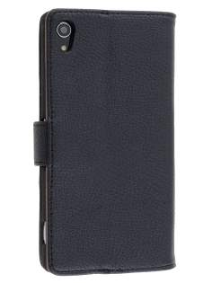 Sony Xperia Z2 Slim Synthetic Leather Wallet Case with Stand - Classic Black Leather Wallet Case