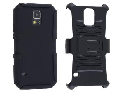 Rugged Case with Holster Belt Clip for Samsung Galaxy S5 - Classic Black