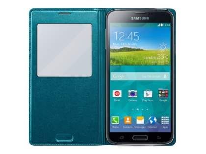 Genuine Samsung Galaxy S5 S-View Premium Cover Case - Teal