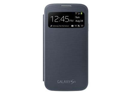 Samsung Galaxy S4 S-View Premium Cover Case - Black S View Cover