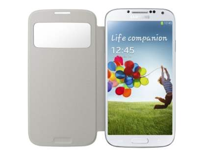 Samsung Galaxy S4 S-View Premium Cover Case - White