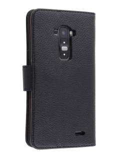 Synthetic Leather Wallet Case with Stand for LG G Flex - Classic Black Leather Wallet Case