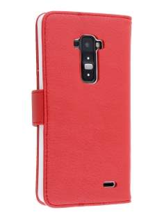 LG G Flex Slim Synthetic Leather Wallet Case with Stand - Red Leather Wallet Case