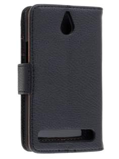 Sony Xperia E1 Slim Synthetic Leather Wallet Case with Stand - Black