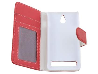 Sony Xperia E1 Slim Synthetic Leather Wallet Case with Stand - Red