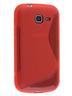 Wave Case for Samsung Galaxy Fresh S7390 - Frosted Red/Red Soft Cover