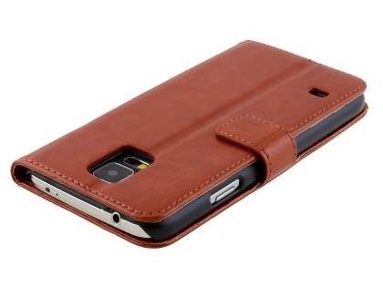 Samsung Galaxy S5 Slim Synthetic Leather Wallet Case with Stand - Brown