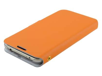 Slim Genuine Leather Portfolio Case for Samsung Galaxy S5 - Orange
