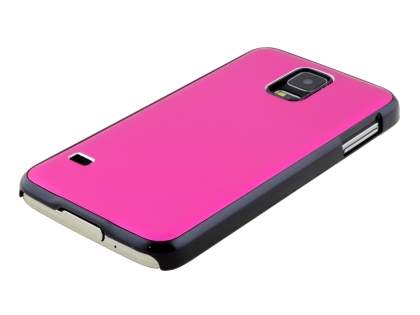 Brushed Aluminium Case for Samsung Galaxy S5 - Hot Pink/Black