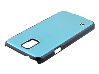 Brushed Aluminium Case for Samsung Galaxy S5 - Baby Blue/Black
