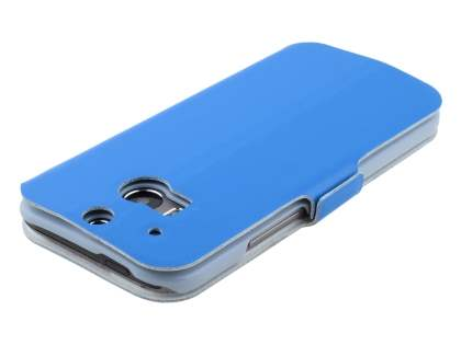 HTC One M8 Slim Genuine Leather Portfolio Case - Blue