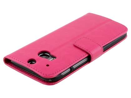 HTC One M8 Slim Synthetic Leather Wallet Case with Stand - Pink