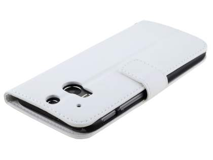 HTC One M8 Slim Synthetic Leather Wallet Case with Stand - Pearl White