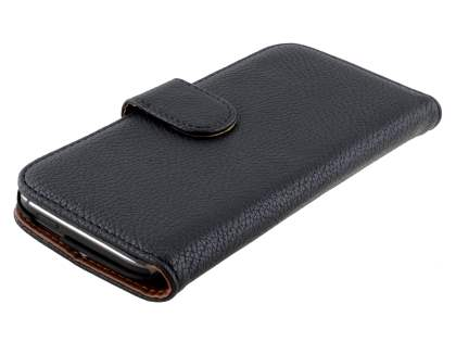 HTC One M8 Synthetic Leather Wallet Case with Stand - Classic Black